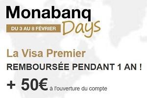 Monabanq Days : Visa Premier remboursée +50€